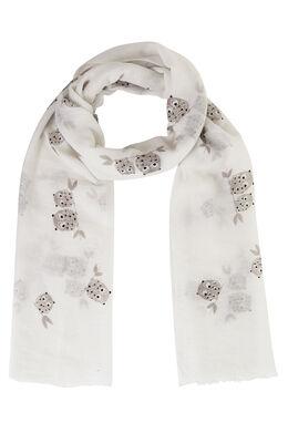 Sjaal met uilenprint Wit