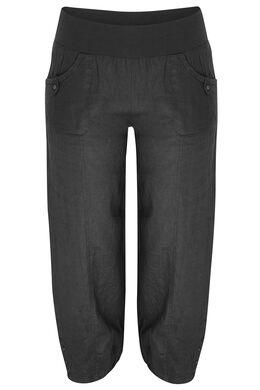 Pantalon 7/8 en lin, Noir