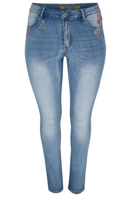 Jeans slim avec broderies, Denim