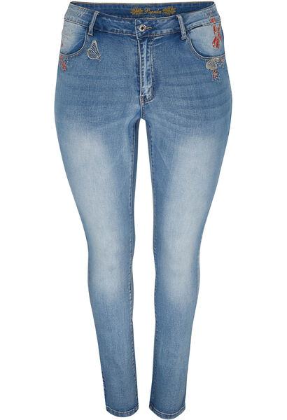 Jeans slim avec broderies - Denim