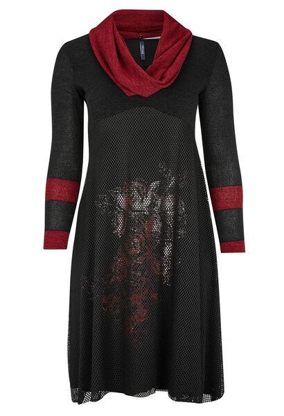Lange jurk in materiaalmix en warm tricot - Zwart