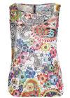 Top in gevlamde kreukstof met bloemen op, Multicolor