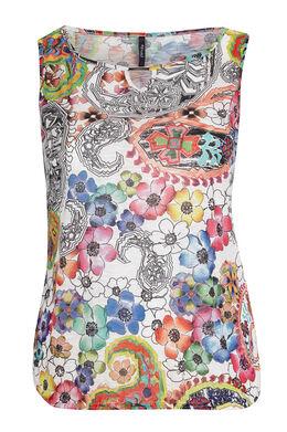 Top in gevlamde kreukstof met bloemen op Multicolor