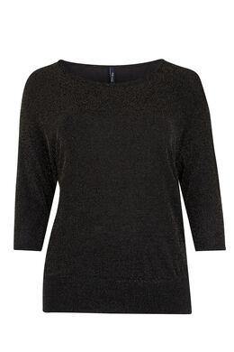 T-shirt van lurextricot, Zwart