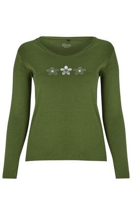 T-shirt Biokatoen met 3 margrieten Groen