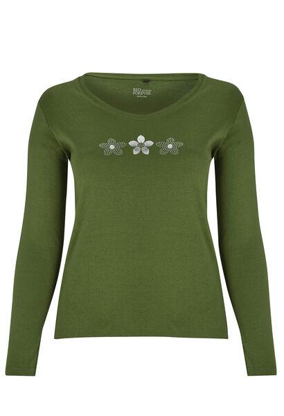 T-shirt Biokatoen met 3 margrieten - Groen