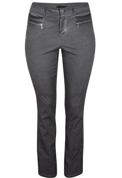 Koud geverfde broek met knoopwerk - Antraciet
