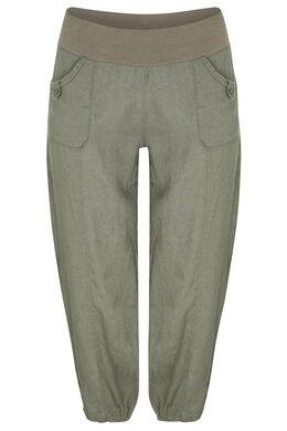 Pantalon 7/8 en lin, Kaki
