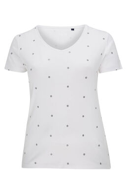 T-shirt imprimé pois en coton bio, Blanc