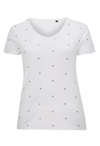 T-shirt met stippen van biokatoen - Wit
