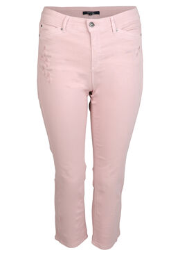 Kuitbroek met borduurwerk in dezelfde kleur, Roze
