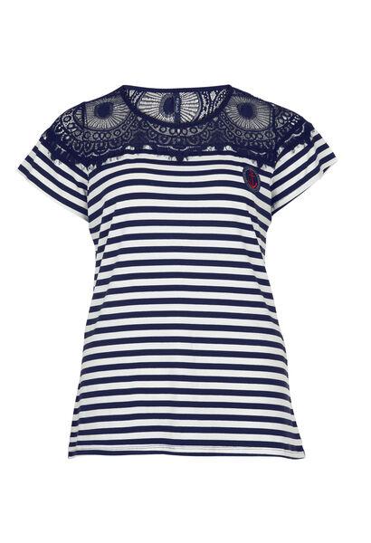 Marine-T-shirt met kant - Marineblauw