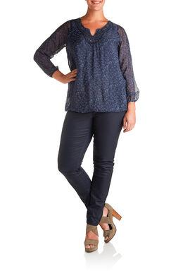 Bolvormig shirt in libertyzijde Marineblauw