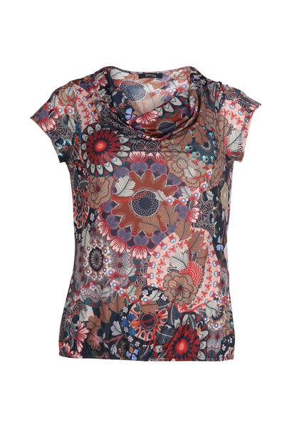 T-shirt met mandalaprint - Multicolor