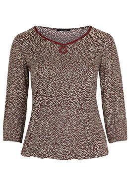 T-shirt in koel tricot met folieprint, Bordeaux