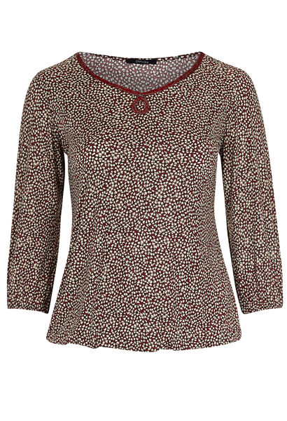 T-shirt in koel tricot met folieprint - Bordeaux