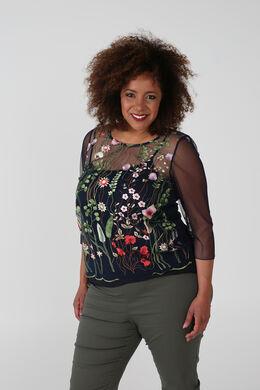 T-shirt brodé en résille, multicolor