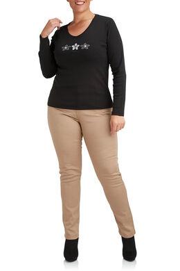 T-shirt Biokatoen met 3 margrieten, Zwart