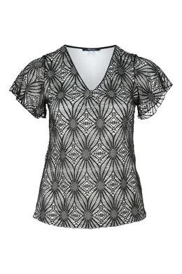 T-shirt in kant met rits, Zwart