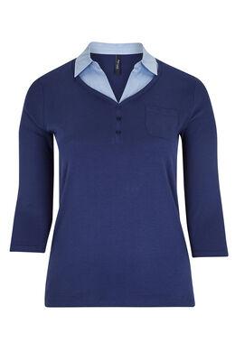 T-shirt en coton 2 en 1, Bleu nuit
