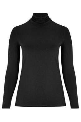 Basic T-shirt, biokatoen, met rolkraag, Zwart