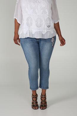 3/4-jeans Sara met borduurwerk, Denim