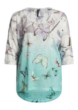 T-shirt in linnentricot met vlinderprint, Muntgroen