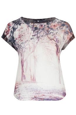 T-shirt in twee stoffen, lieflijke print, Pruim
