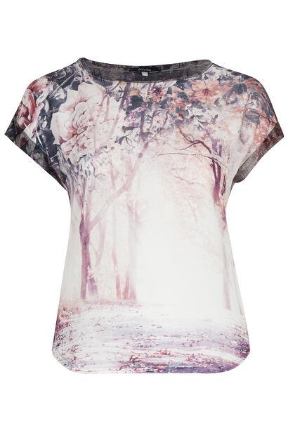 T-shirt in twee stoffen, lieflijke print - Pruim