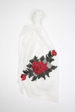 Sjaal met een grote geborduurde bloem, Ecru