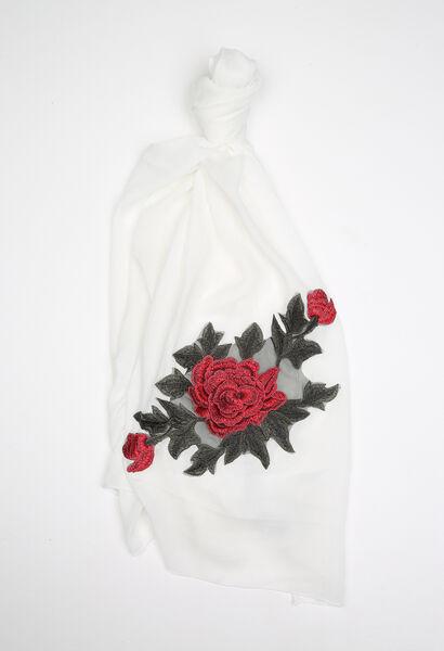 Sjaal met een grote geborduurde bloem - Ecru