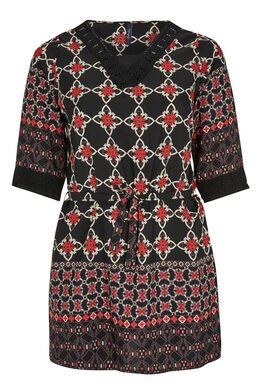 Bedrukte jurk en V-hals met knoopwerk, Zwart
