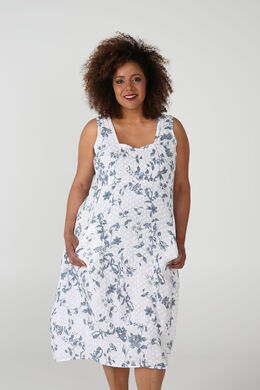 Robe longue en lin imprimé fleuri, Blanc