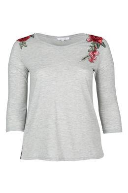 T-shirt met geborduurde bloemen, Gris Chine