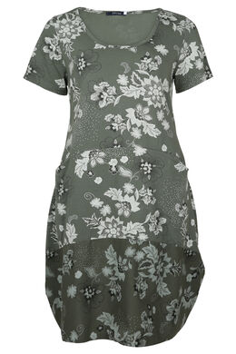 Halflange jurk met print, Licht kaki