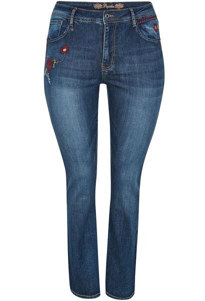 Jeans met geborduurde bloemen - Denim