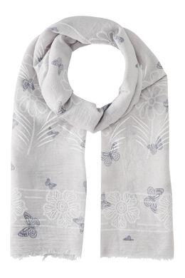 Sjaal met bloemen en vlinders., Lichtgrijs