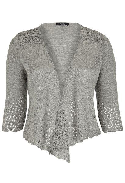 Korte, opengewerkte vest met lurex - Lichtgrijs