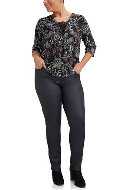Pantalon 5 poches enduit coupe slim, Marine