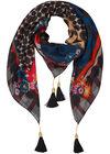 Vierkante sjaal met patchprint en pompons