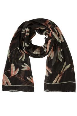 Sjaal bedrukt met libellen, Zwart