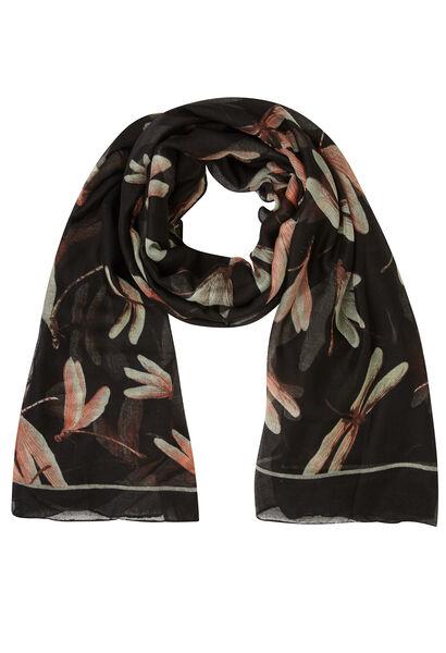 Sjaal bedrukt met libellen - Zwart