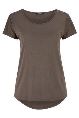 T-shirt en maille avec détails clous, Taupe