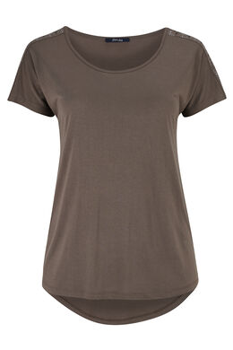 T-shirt van tricot met studs, Taupe