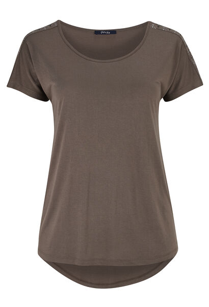 T-shirt van tricot met studs - Taupe