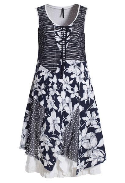 Lange jurk in materiaalmix met print - Wit