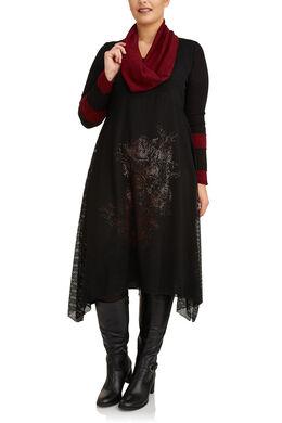 Lange jurk in materiaalmix en warm tricot, Zwart