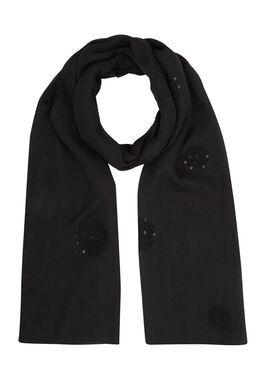 Foulard brodé de fleurs et sequins, Noir