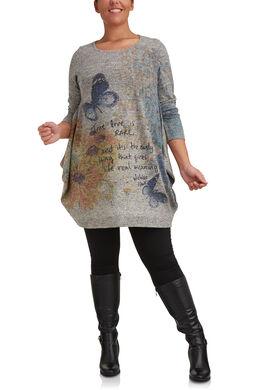 Tuniek van bedrukt, warm tricot., Multicolor