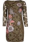 Tweekleurige kanten jurk met applicatie, Kaki